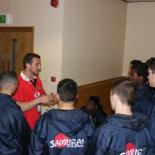 Pre-match team talk with Wales and Lions captain Sam Warburton.